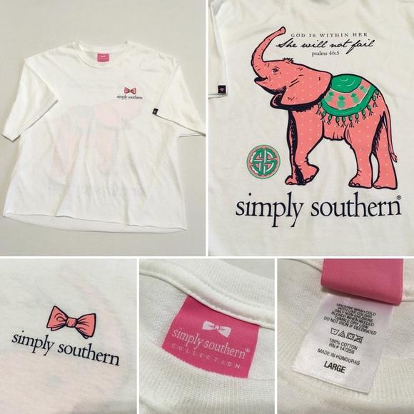 0dae32a557a9 Simply southern Large crop t shirt elephant printC.  M 5a7d3a2072ea887684d8ae3b